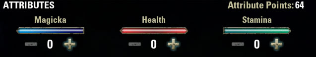 Attributes Health Magicka Stamina