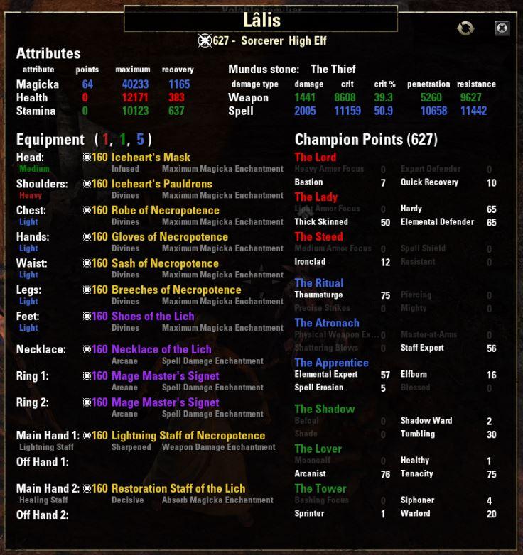 Lalis - VMA Magicka Sorc (Morrowind) » ESO Academy